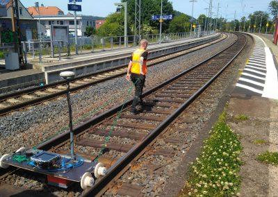 Geophysical Measurement with Radar GPR between rails using a rail car, Explosive Ordnance Probing, Münster, Ruhrgebiet, Deutsche Bahn DB